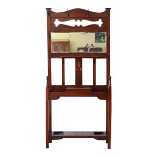 Antique Inlaid Mahogany Hall Tree W/ Beveled Mirror For Sale