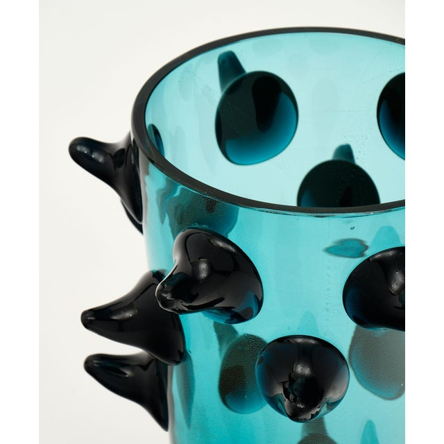 Aqua Murano Glass Vases by Costantini For Sale - Image 4 of 13