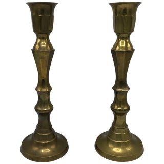 1950s Large Brass Candlesticks, Pair For Sale