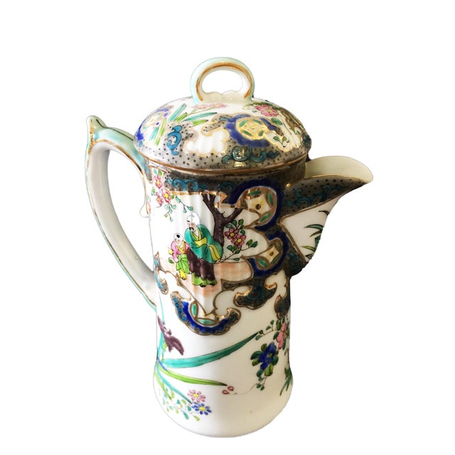 "Asian Old H Painted Asian Porcelain Tea Pot 8.75"" H For Sale - Image 3 of 9"