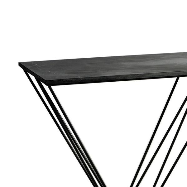 Hudson console table with sleek, simple frame. Modern architectural iron base with dark slate stone table top.
