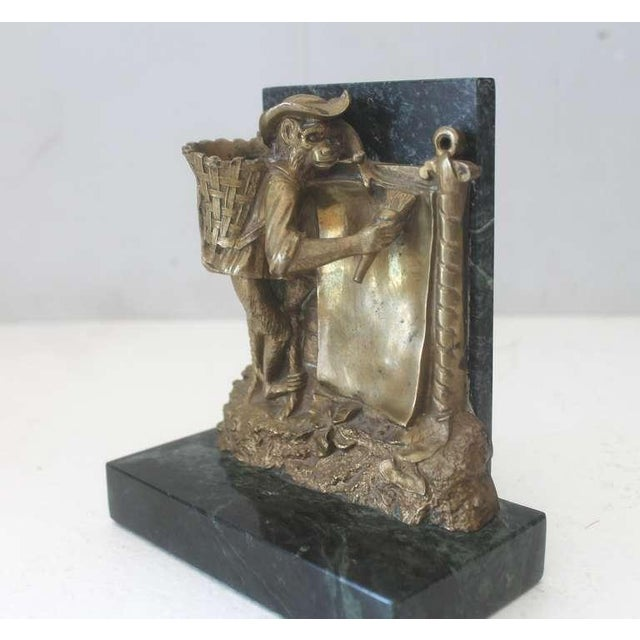 Black Pair of Bronze Monkey and Green Marble Bookends For Sale - Image 8 of 11