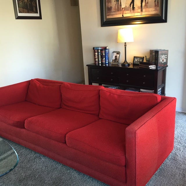 Mid-Century Red Sofa - Image 3 of 5