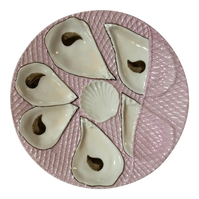 French Pink and White Oyster Plate For Sale