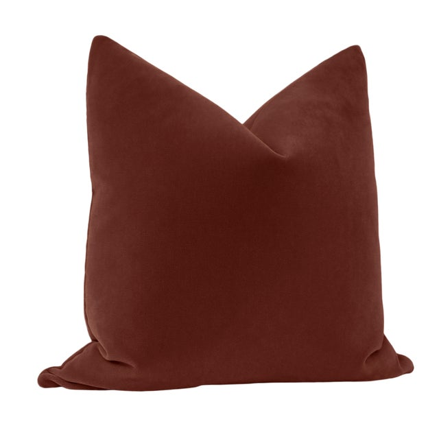 """Contemporary 22"""" Rouge Mohair Pillows - a Pair For Sale - Image 3 of 5"""
