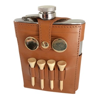 Stainless Steel Golfing Flask With Leather Holder For Sale