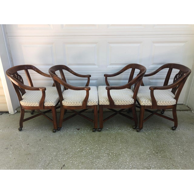 Drexel Heritage Chippendale Horseshoe Dining Chairs on Casters- Set of 4 For Sale - Image 11 of 13