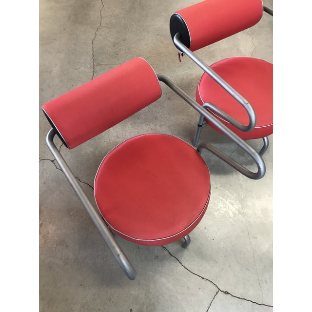 Post Modern Red Danish Armchairs - A Pair For Sale In Portland, OR - Image 6 of 10