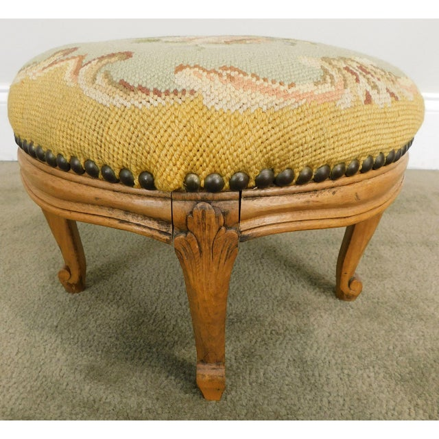 Wood French Louis XV Style Antique Small Needlepoint Footstool For Sale - Image 7 of 13