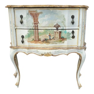 Early 20th Century Antique Italian Louis XV Style Commode Victorian Vintage Gilded Painted Bombe Chest - 2 Drawer Venetian Dresser For Sale