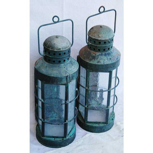 Nautical Copper Lantern Wall Sconces- A Pair - Image 4 of 12