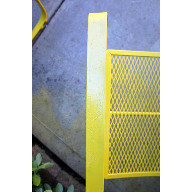 Vintage Mid Century Buttercup Yellow French Directoire Style Wrought Iron Patio Set- 5 Pieces For Sale - Image 12 of 13