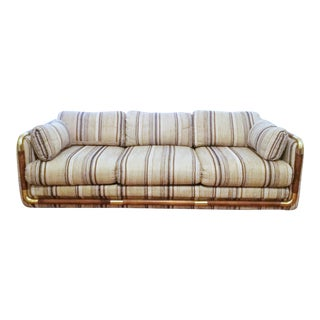 Late 20th Century Wood and Brass Frame Mod 80s Sofa For Sale