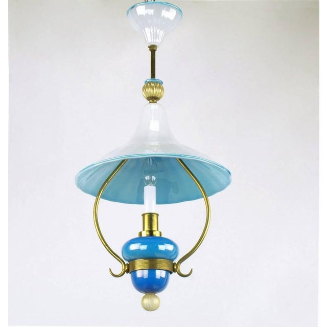 Italian Italian Murano Blue and White Cased Glass Hooded Pendant Chandelier For Sale - Image 3 of 7
