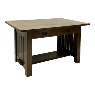 Early 20th-C. Arts & Crafts Era Oak Desk by Charles Limbert For Sale