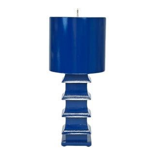Tole Blue Pagoda Lamp with Shade For Sale