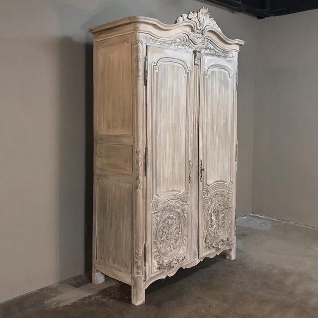 Early 18th Century 18th Century Country French Louis XVI Period Whitewashed Armoire For Sale - Image 5 of 12