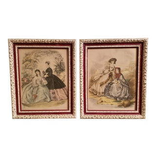 Early 20th Century French La Mode Illustree Victorian Prints in Provincial Wood Frames - a Pair For Sale