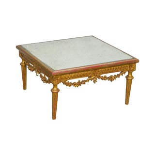 Louis XVI Style Giltwood Square Mirror Top Low Coffee Table For Sale