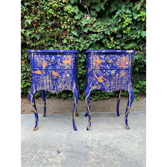 A pair of 1930s nightstands, design modified, fully handpainted by Vramyan Interiors from 2018-2019. Fully Hand painted...