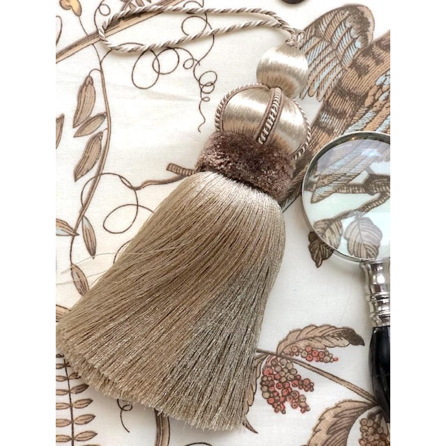Taupe Key Tassel With Cut Velvet Ruche For Sale - Image 9 of 10