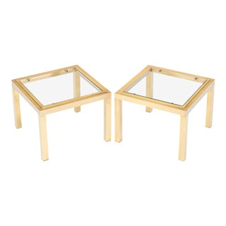 French Mid-Century Modern Brass Side Tables - a Pair For Sale