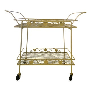 White Iron Rolling Serving Cart