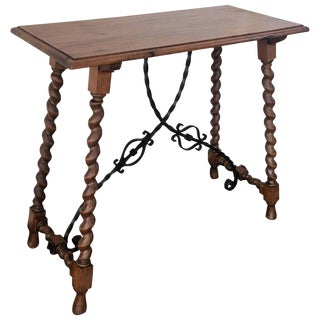 19th C Spanish Console With Iron Stretcher & Turned Legs For Sale
