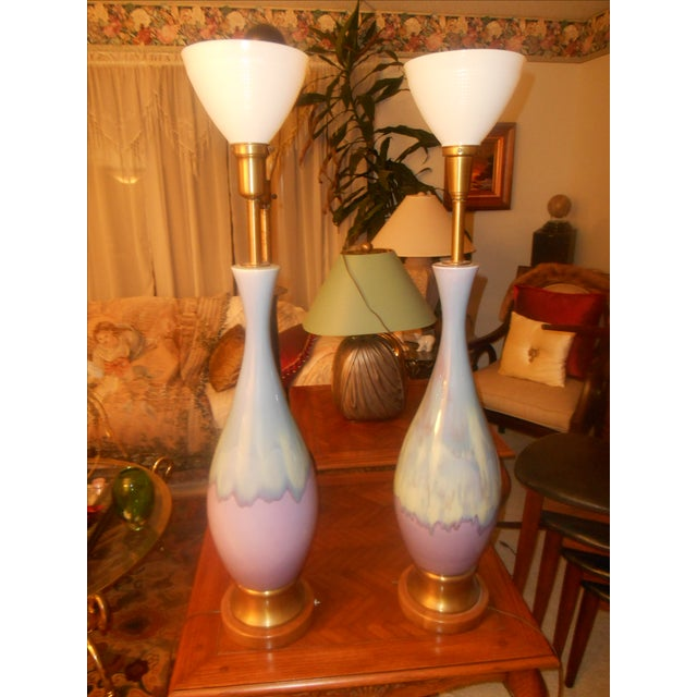 Mid Century Modern Volcano Drip Table Lamps - Pair - Image 7 of 9