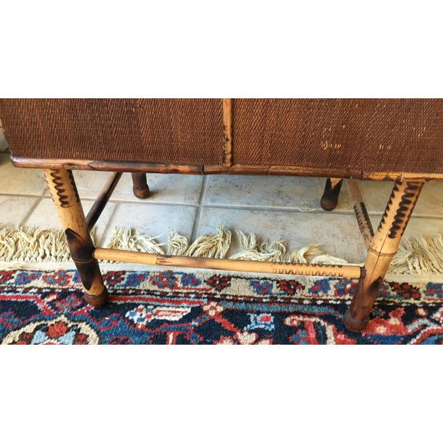 Wicker Antique Bamboo and Wicker Stool For Sale - Image 7 of 8