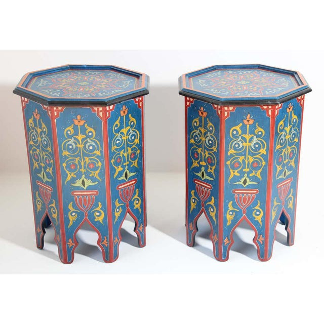 Hand Painted Blue Moroccan Pedestal Tables - a Pair For Sale In Los Angeles - Image 6 of 13