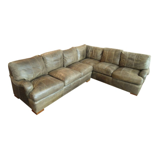 Kravet Olive Green Leather Sectional Sofa - Image 1 of 5