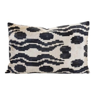 Black and Cream Chintamani Silk Velvet Lumbar Pillow For Sale