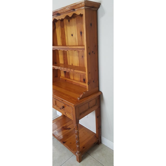 Country Rustic Style Pine China Hutch Sideboard With Spindles - 2 Pieces For Sale - Image 3 of 12