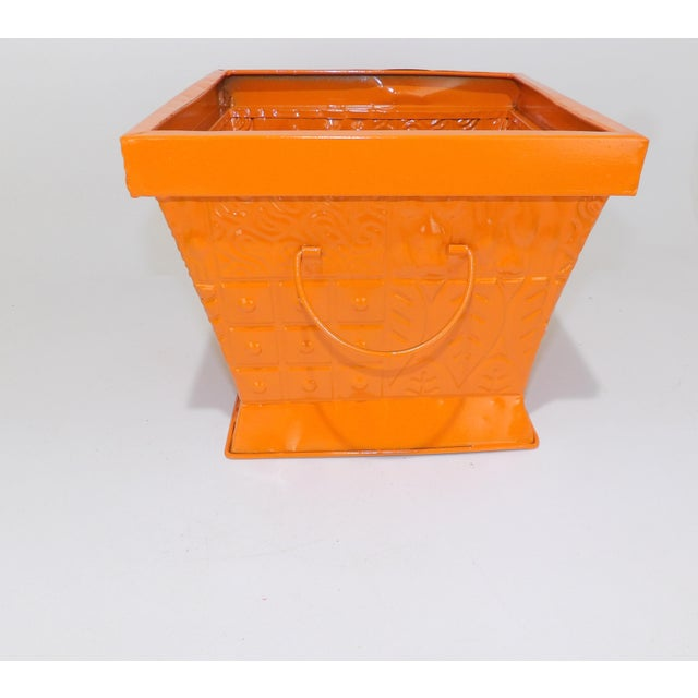 Orange Contemporary Orange Square Metal Catchall Bin Organizer For Sale - Image 8 of 8