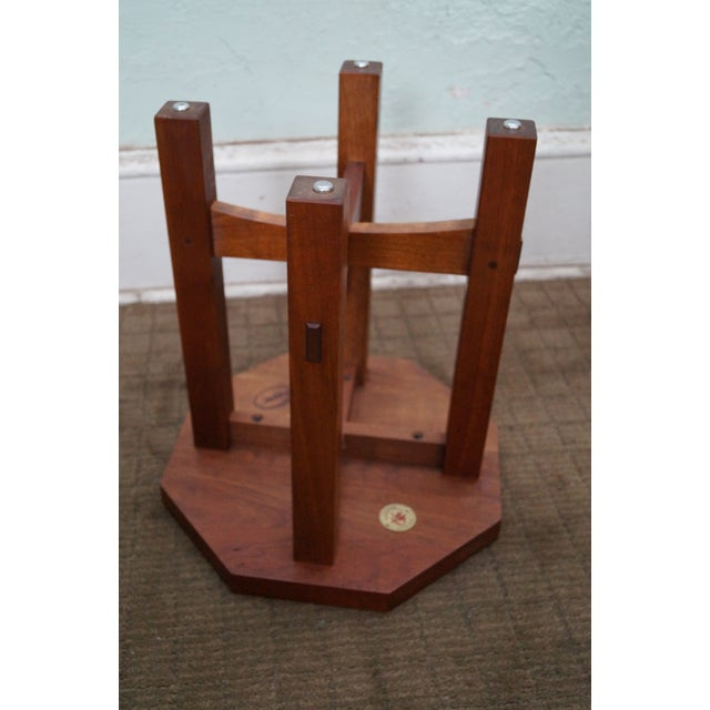 Stickley Stickley Mission Style Cherry Octagon Small Side Table Taboret Stand For Sale - Image 4 of 10