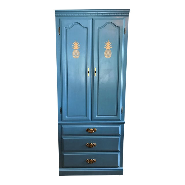 Custom Hand-Painted Blue Wardrobe - Image 1 of 7