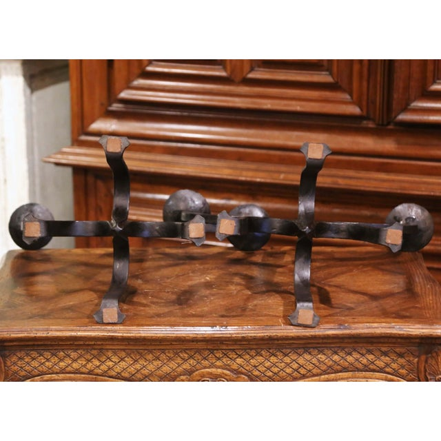 19th Century French Gothic Revival Wrought Iron Two-Arm Candelabras - a Pair For Sale - Image 10 of 11
