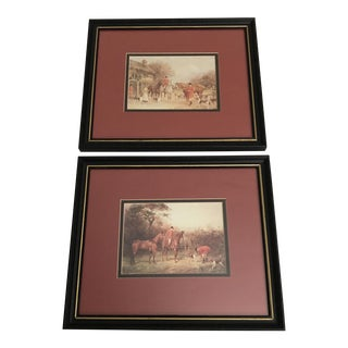 Framed Countryside Equestrian Prints - A Pair For Sale