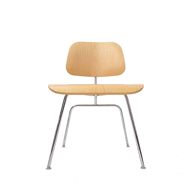 Many Charles Eames DCM Bent Plywood & Steel Chairs for Herman Miller White Ash For Sale In New York - Image 6 of 7