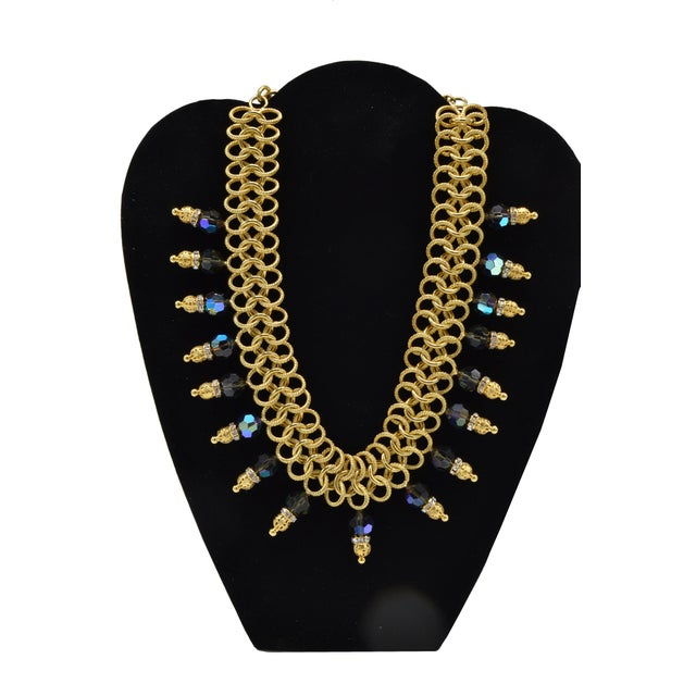 Italian Costume Runway Necklace in Gold and Blue by Justin Joy For Sale - Image 4 of 8