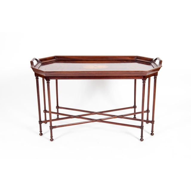 Fine Mahogany Wood Tray Table with Side Handles For Sale - Image 11 of 12