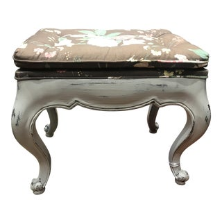 Queen Anne Distressed Beige Floral Stools