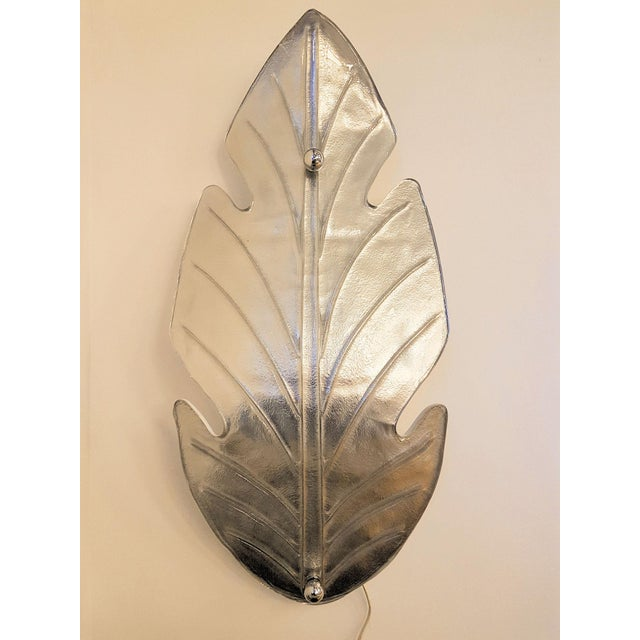 Silver Extra Large Mid Century Modern Silver Leaf Murano Glass Sconces Attr to Barovier- A Pair For Sale - Image 8 of 9