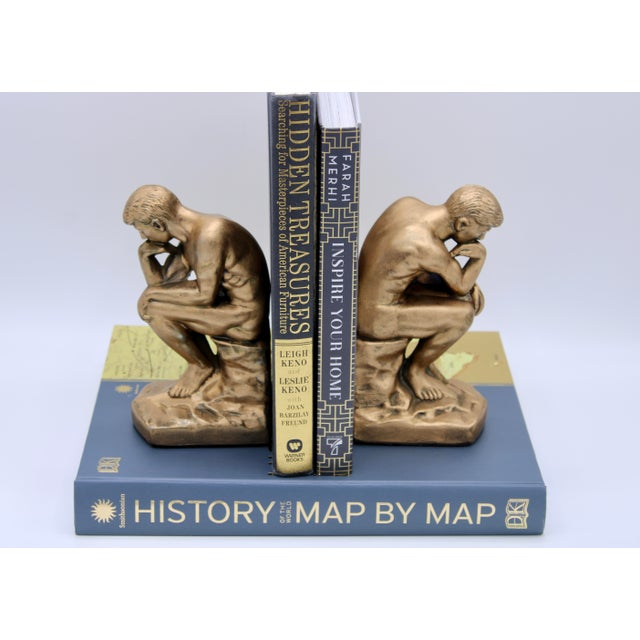 Metal 1928 Metallic Gold Thinking Man Bookends For Sale - Image 7 of 12