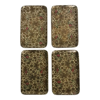 Japanese Floral Luncheon Trays - Set of 4 For Sale