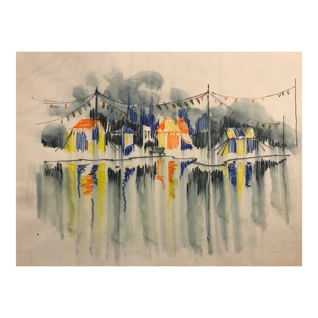 Vintage 1966 Circus Watercolor Painting For Sale