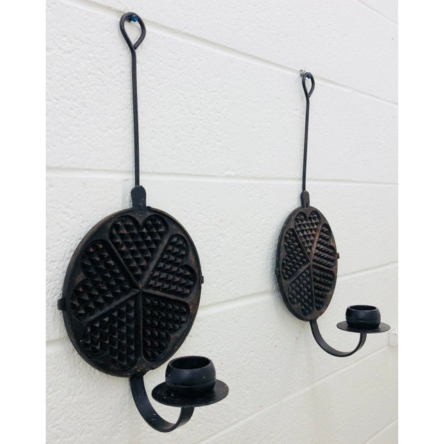 Stunning Pair Antique Dutch Cast Iron Husqvarna NorraHammar N-10 Waffle / Crepe / Cookie Presses transferred to Hanging...