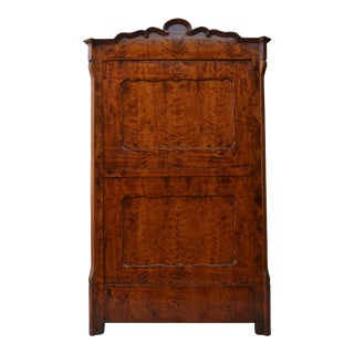 Antique Austrian Biedermeir Flared Birch Mini Wardrobe
