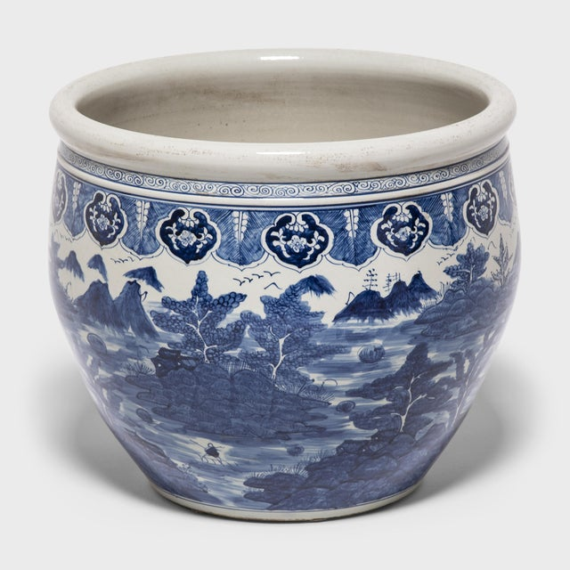 """""""Shan Shui"""" Blue and White Fish Bowl For Sale In Chicago - Image 6 of 6"""